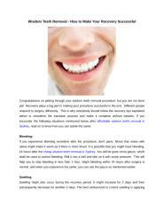 Wisdom Teeth Removal - How to Make Your Recovery Successful.docx