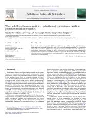 2011-Colloids and Surfaces B Biointerfaces-Water  soluble  carbon  nanoparticles   Hydrothermal   synthesis   and   excellent.pdf